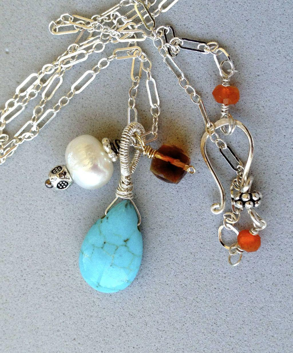 Turquoise Charms Silver Necklace, Madeira Citrine Turquoise pearl 3 charm Silver pendant necklace Camp Sundance