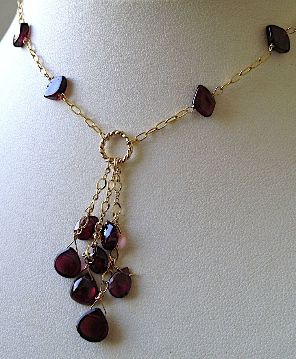Garnet Cascade Gold filled necklace Camp Sundance