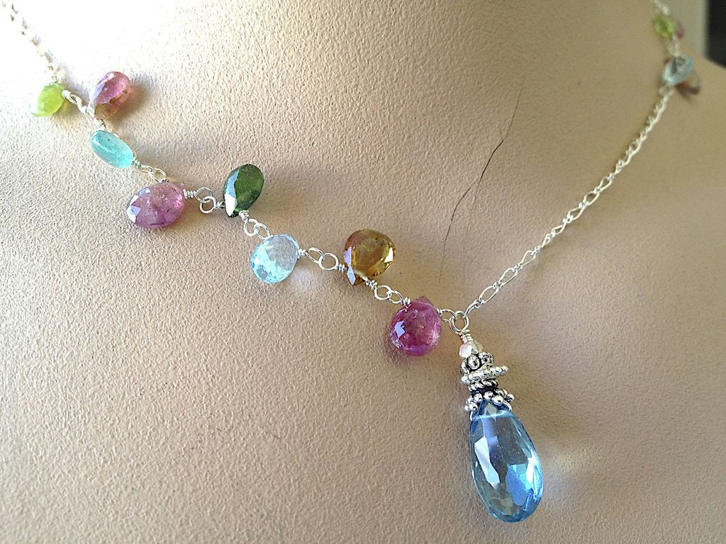 Topaz Tourmaline Necklace, Silver necklace, London Blue Topaz, Camp Sundance Gem Bliss jewelry