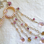 Pearl Eternity Silver necklace Garnet Topaz Camp Sundance toggle