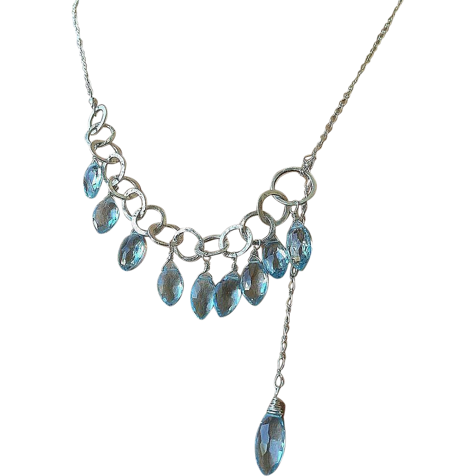 Silver Lariat, Blue Topaz necklace, Silver Necklace, Topaz Lariat, blue lariat, Camp Sundance, Gem Bliss