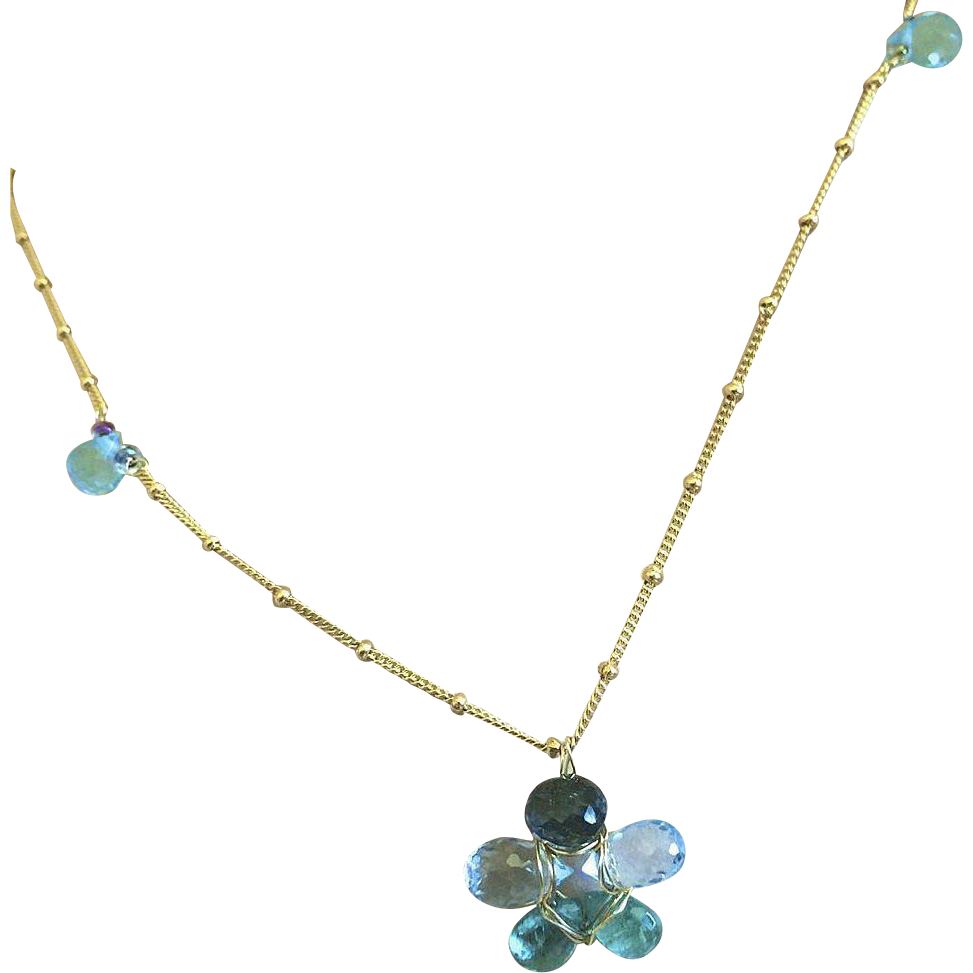 Apatite, blue Topaz, flower necklace, Topaz pendant, Gold filled, Camp Sundance, Gem Bliss
