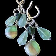 Silver earrings, Fluorite, Tourmaline chandelier earrings, Camp Sundance, Gem Bliss