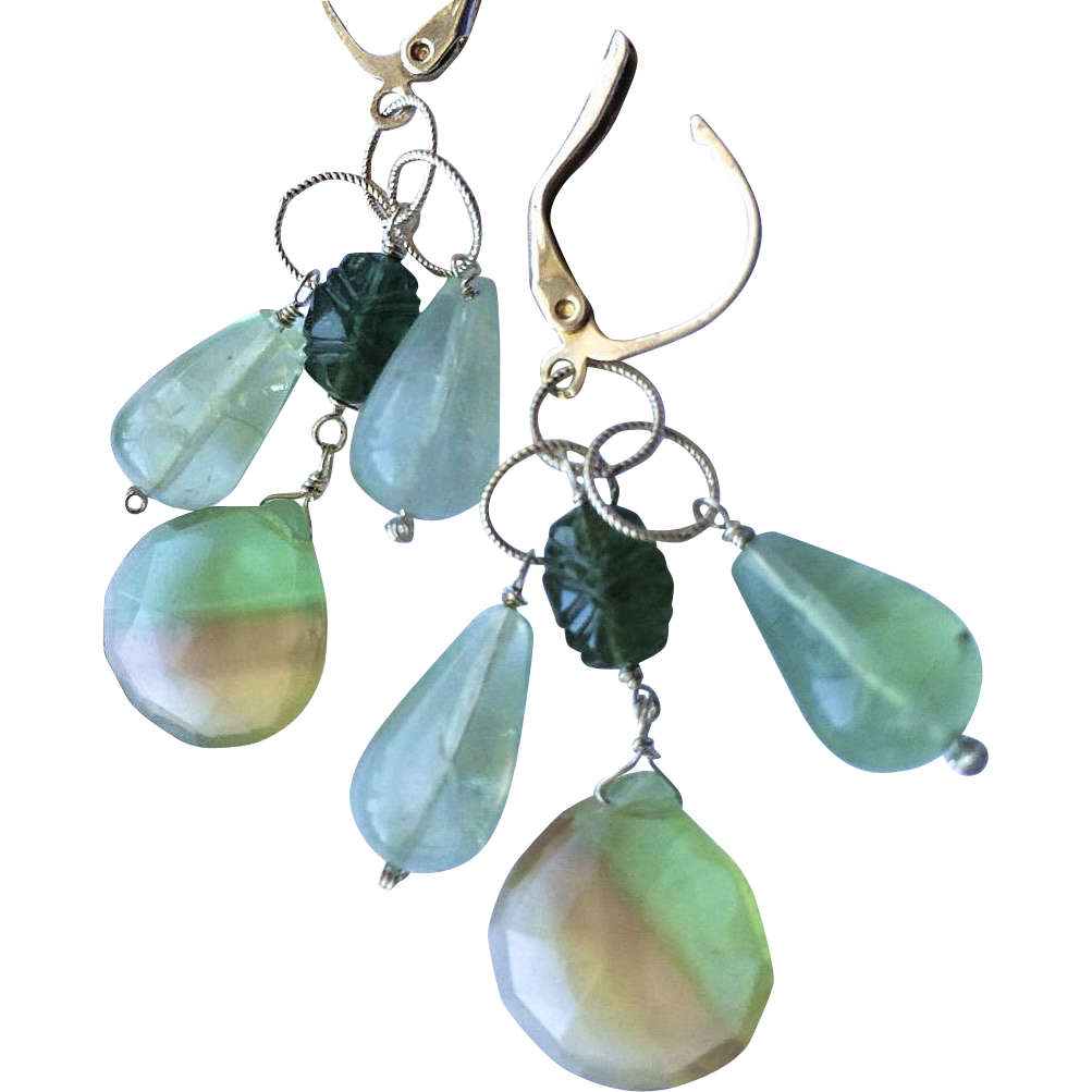 Silver earrings, Fluorite, Tourmaline chandelier earrings, Camp Sundance, Gem Bliss