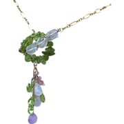 Peridot, Gold filled necklace, Rose quartz, Gem Toggle, August Birthday, Camp Sundance, Gem Bliss