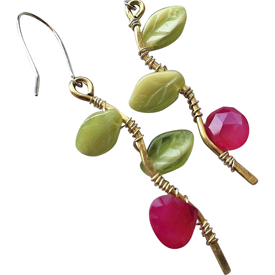 Twig earrings, chalcedony, leaves, Bronze, branch earrings, Silver, Camp Sundance, Gem Bliss