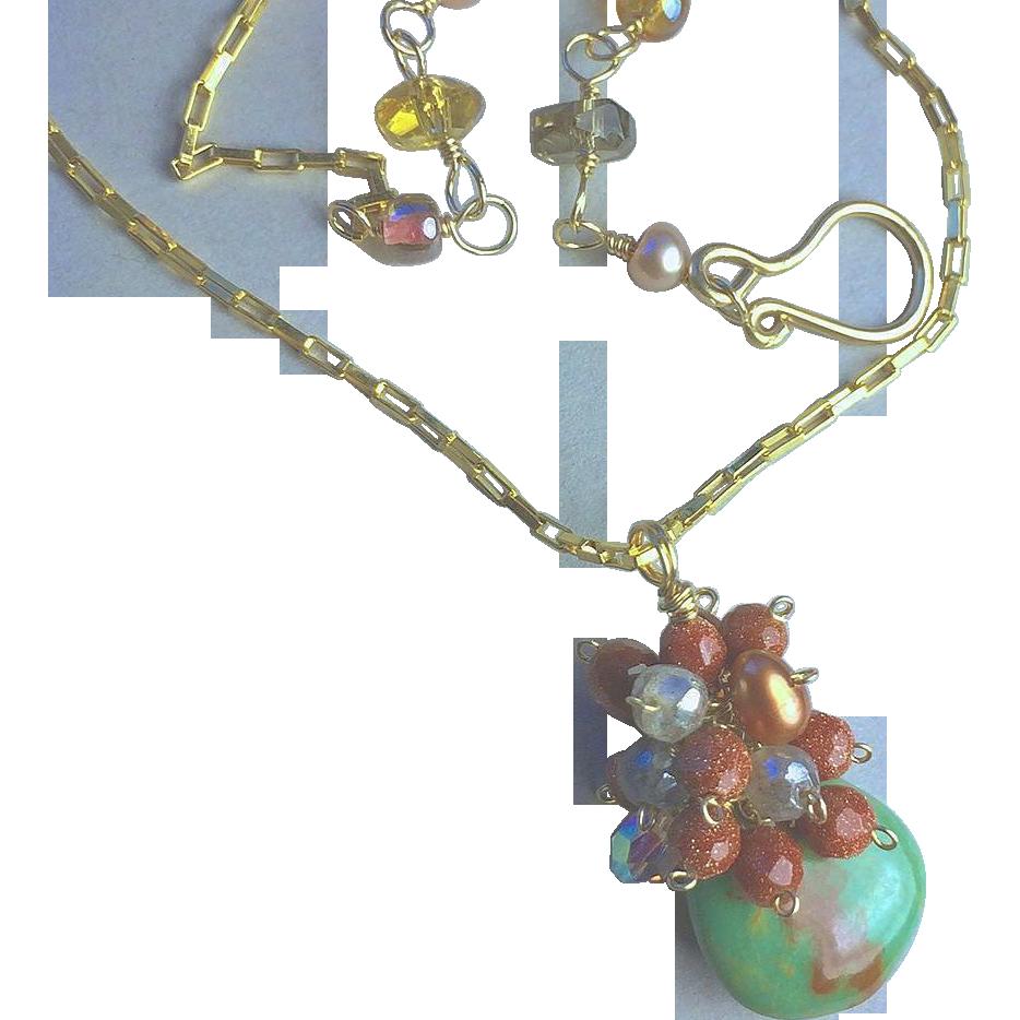 Chrysoprase necklace, Goldstone, cluster necklace, green pendant, Camp Sundance Gem Bliss
