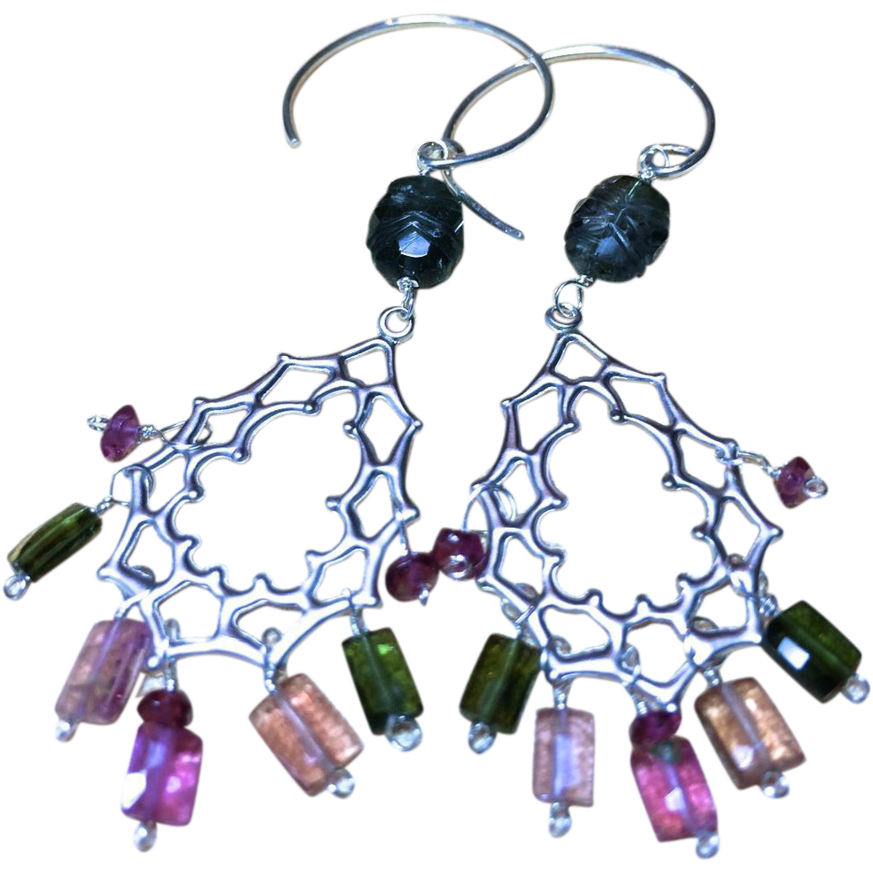 Tourmaline Earrings, Silver Earrings, Tourmaline chandeliers, Gem Bliss Camp Sundance October birthday.