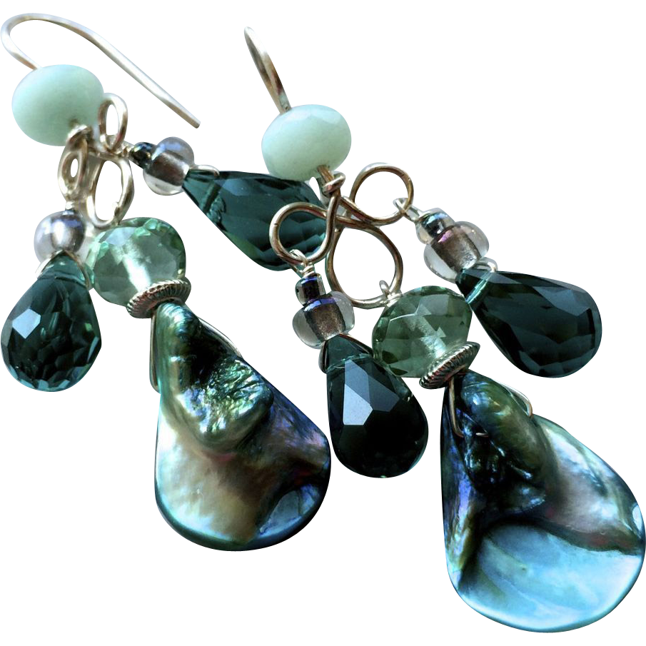 Abalone Amazonite chandelier earrings teal dangle earrings Camp Sundance Gem Bliss