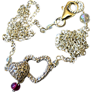 Pave hearts Silver necklace Double happiness CZ hearts Garnet layering necklace Camp Sundance Gem Bliss