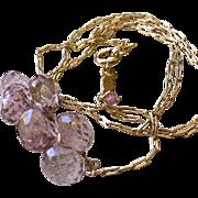 Pink briolette cluster Rose Gold filled necklace Gem Bliss Camp Sundance