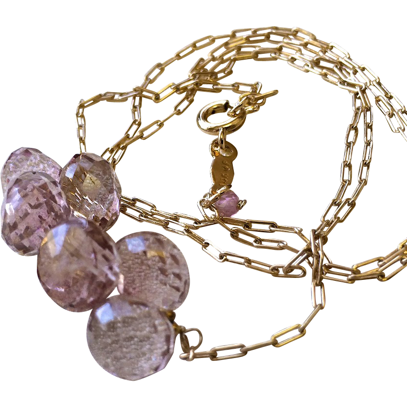Pink briolette cluster Rose Gold filled necklace Gem Bliss Camp Sundance