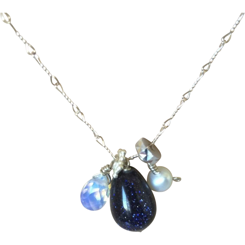 Blue Goldstone Pearl Cluster Necklace Gem Bliss