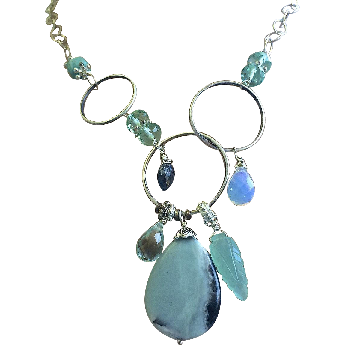 Amazonite Necklace, Silver necklace, Asymmetrical metalwork Gem Bliss