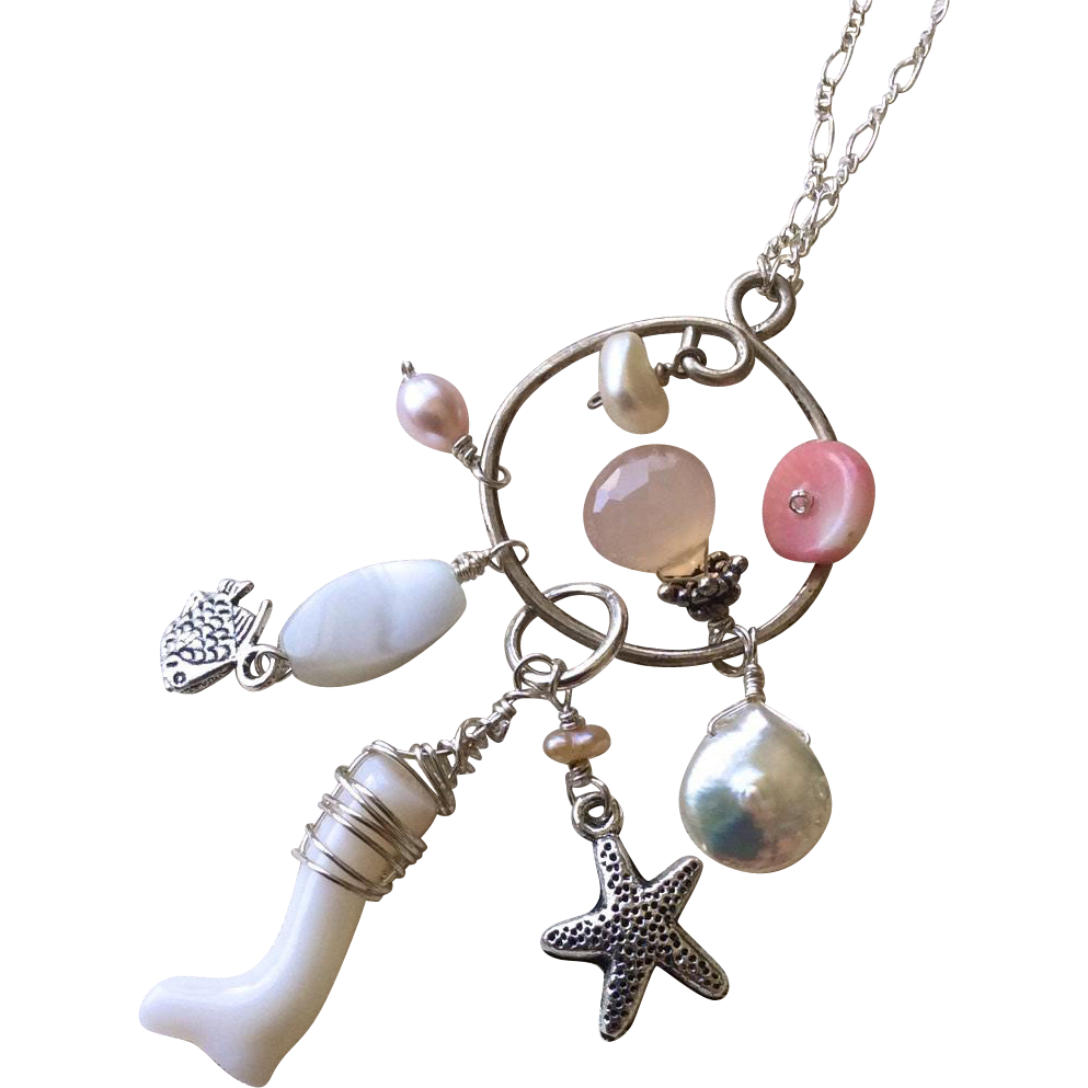 Beach Charms Silver Necklace Gem Bliss