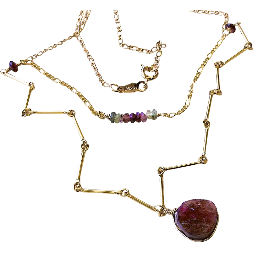 Tourmaline necklace, Gold necklace,  two strand necklace, long necklace