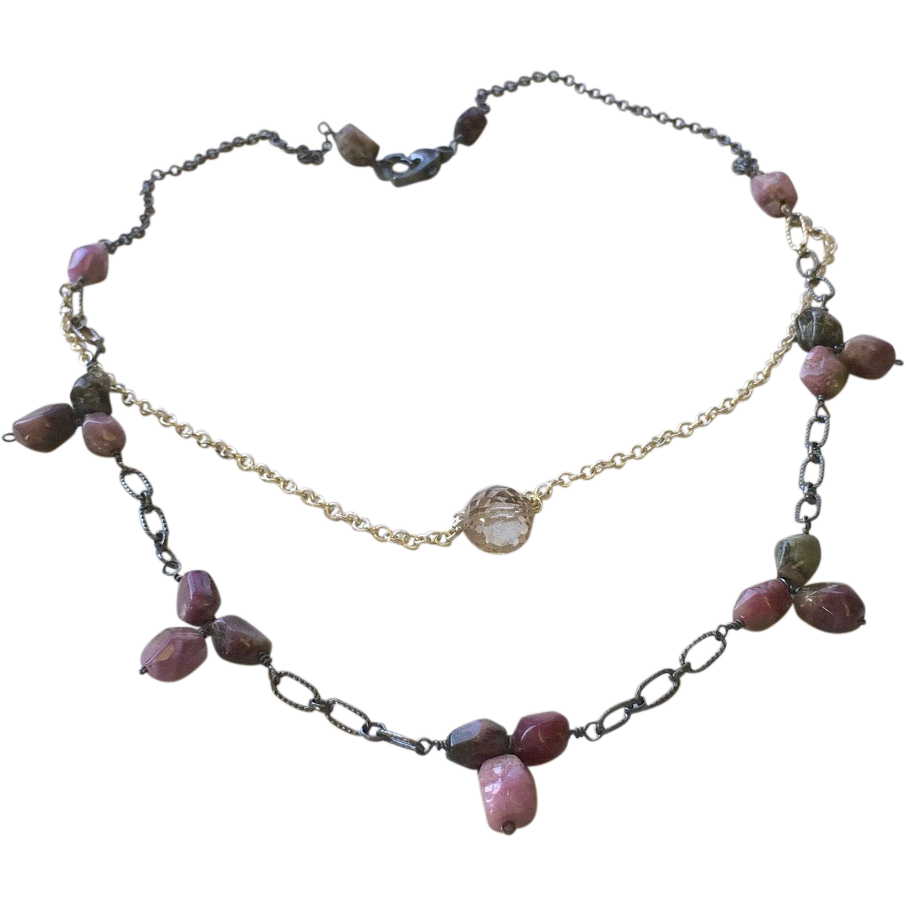 Tourmaline Necklace, Silver layering necklace Gem Bliss