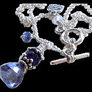 Iolite Trillion pendant, Amethyst and Iolite Sterling Silver necklace Camp Sundance Gem Bliss