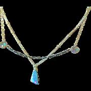 Boulder Opal Silver Necklace, 2 Strand layering mystic quartz necklace, October Birthstone, Gem Bliss