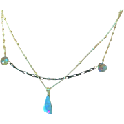 Boulder Opal Silver Necklace, 2 Strand layering mystic quartz necklace, October Birthstone, Gem Bliss