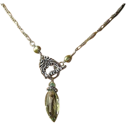 Green Amethyst necklace, Prasiolite, Silver necklace, Camp Sundance, Gem Bliss