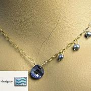 Periwinkle CZ necklace briolette Camp Sundance