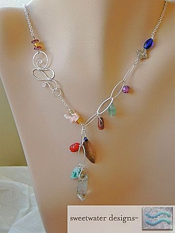 Forged Copper Leaf asymmetrical gems and beads charms Silver necklaces