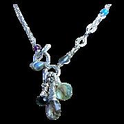 Moss Amethyst Silver necklace Topaz Prehnite Labradorite charms Gem Bliss Camp Sundance jewelry