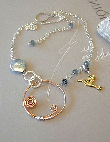 Bird charm Coin Pearl Copper Iolite necklace Silver Camp Sundance