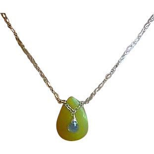 Embellished Olive pendant, Olive jade necklace, Labradorite, Camp Sundance, Gem Bliss