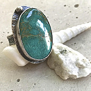 Turquoise Ring, Silver Ring Camp Sundance rustic textured band, Gem Bliss