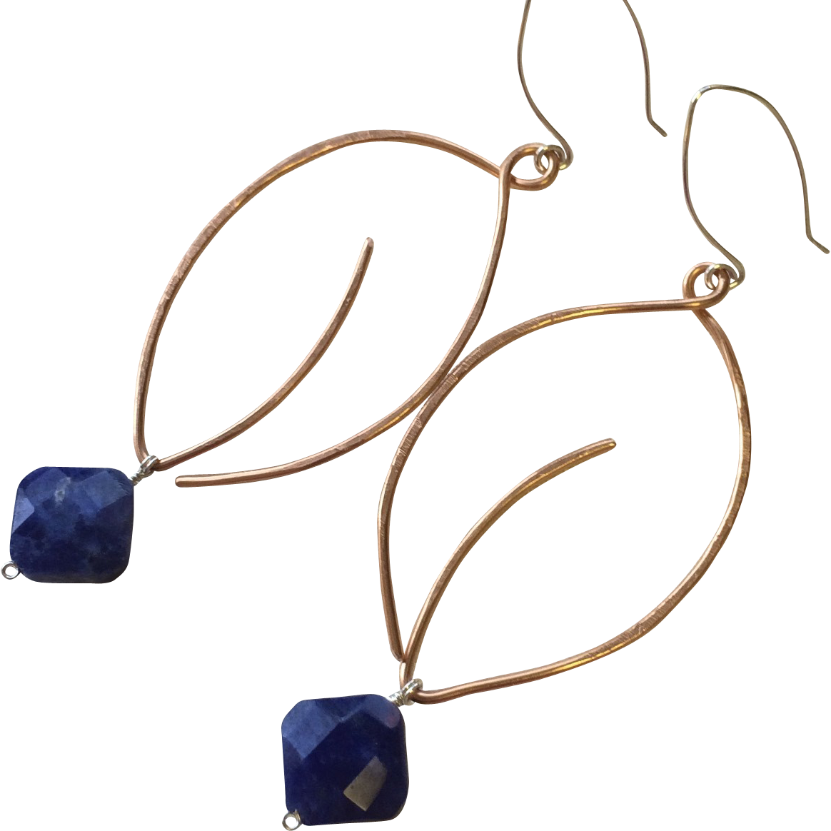 Copper Hoop Earrings Leaf hoops Sodalite charm Silver hooks Gem Bliss