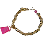 Drusy charm link bracelet, Camp Sundance, 14k Gold filled, pink Charm, Camp Sundance, Gem Bliss