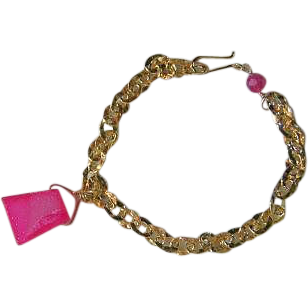 Drusy charm link bracelet, Camp Sundance, 14k Gold filled, pink Charm, Camp Sundance, Gem Bliss
