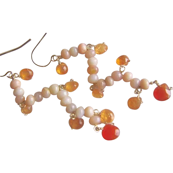 Opal earrings, pink Chandeliers, Pink Peruvian Opal, Mandarin Garnet, Chalcedony, Camp Sundance, Gem Bliss