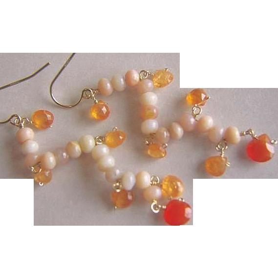 Opal earrings, pink Chandeliers, Pink Peruvian Opal, Mandarin Garnet, Chalcedony, Camp Sundance, Gem Bliss