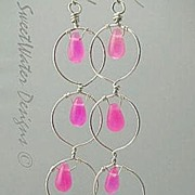Hot Pink Silver hoop earrings long Camp Sundance chandeliers