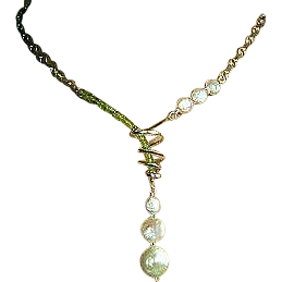 Peridot Silver necklace, Silver Lariat, bridal Pearls, Pearls and Peridot, Silver spiral toggle, Gem Bliss