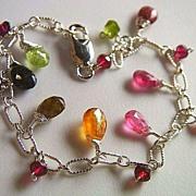 Tourmaline Bracelet, Rainbow Tourmaline briolettes candy colors charms Sterling Silver bracelet