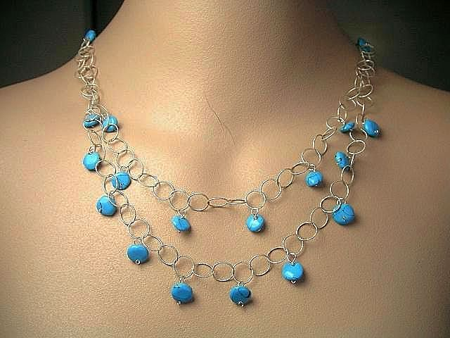 Turquoise Coin 2 strand necklace Camp Sundance Sterling Silver