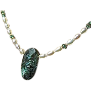Labradorite necklace, white Pearl necklace, Apatite, Camp Sundance, Gem Bliss