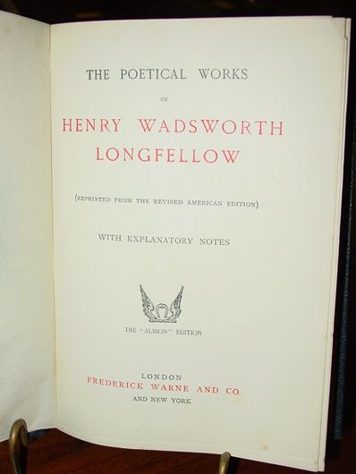 Longfellow Poetical Works - fine leather 1882