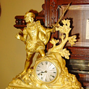 19th century French bronze statue clock