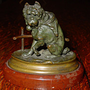 Antique Miniature French bronze- Dog wearing jacket-bell