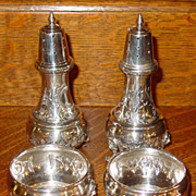 Matched Pair sterling silver pepper shakers & open salts