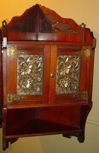 Unusual walnut Victorian hanging corner cabinet