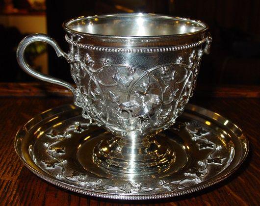Rare Tiffany sterling silver cup & saucer Birdnest pattern