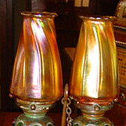 Rare Tiffany bronze double candlestick