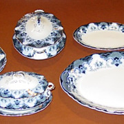 Wonderful 11 piece Flow Blue china Meakin Regent