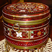 Large Exceptional Bohemian art glass dresser box---cranberry